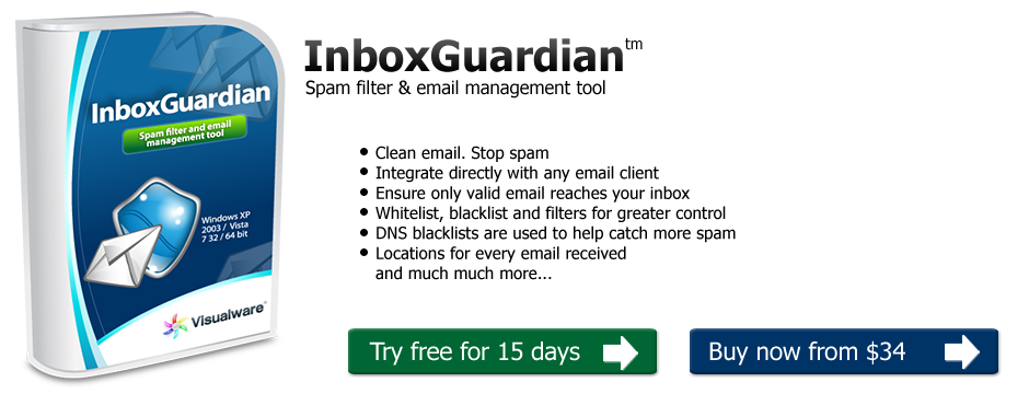 InboxGuardian. A unique spam filter. Clean mail. No spam.